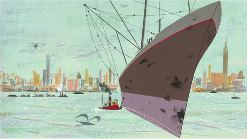 New York Harbor by Charley Harper