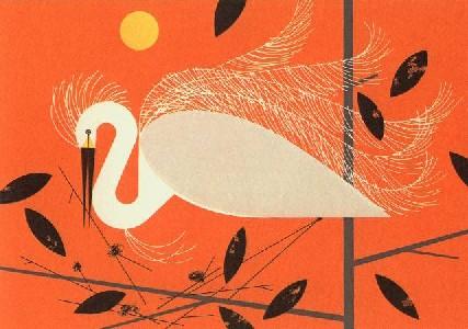 Snowy Egret by Charley Harper