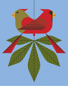 Cardinals Consorting by Charley Harper
