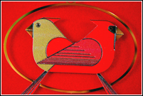 Cardinals Consorting 2008 adornment by Charley Harper