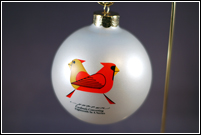 Cardinals Consorting 2008 ornament by Charley Harper
