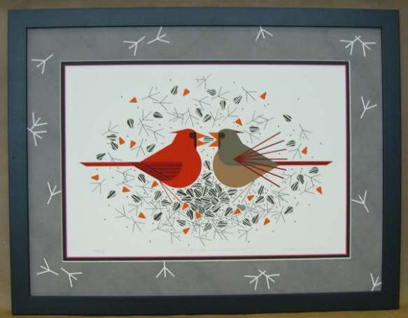 Cardinal Courtship by Charley Harper