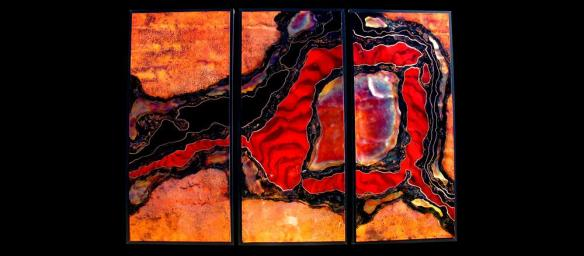 sculptural copper painting by Woody Woodill
