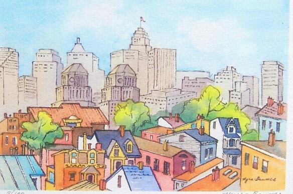 Cincinnati print by Myra Baumes