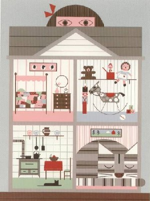 Cat and House by Edie Harper