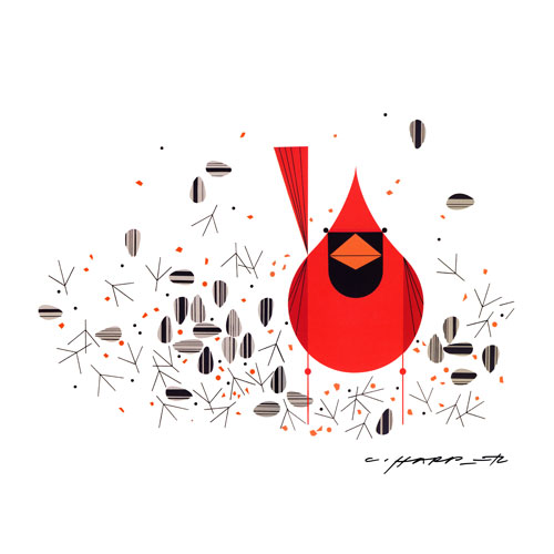 Cardinal-Close-Up stretched canvas print by Charley Harper