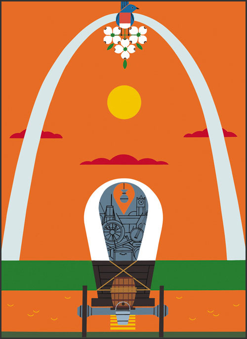 Where the East Meets the West by Charley Harper
