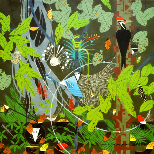 Deep Forest stretched canvas print by Charley Harper