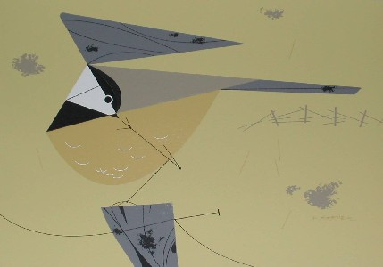 Black-Capped Chickadee by Charley Harper