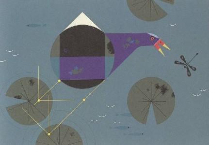 Purple Gallinule by Charley Harper