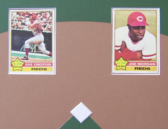 custom-framed set of 1976 Cincinnati Reds baseball cards