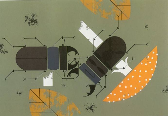 Beetle Battle by Charley Harper