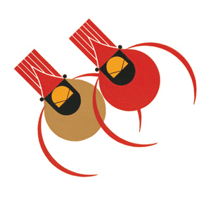 Cardinal Couple by Charley Harper