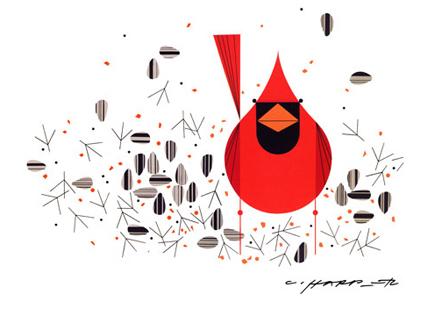 Cardinal Closeup by Charley Harper
