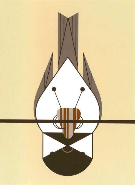Chickadee Calisthenics by Charley Harper