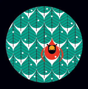 Coniferous Cardinal by Charley Harper