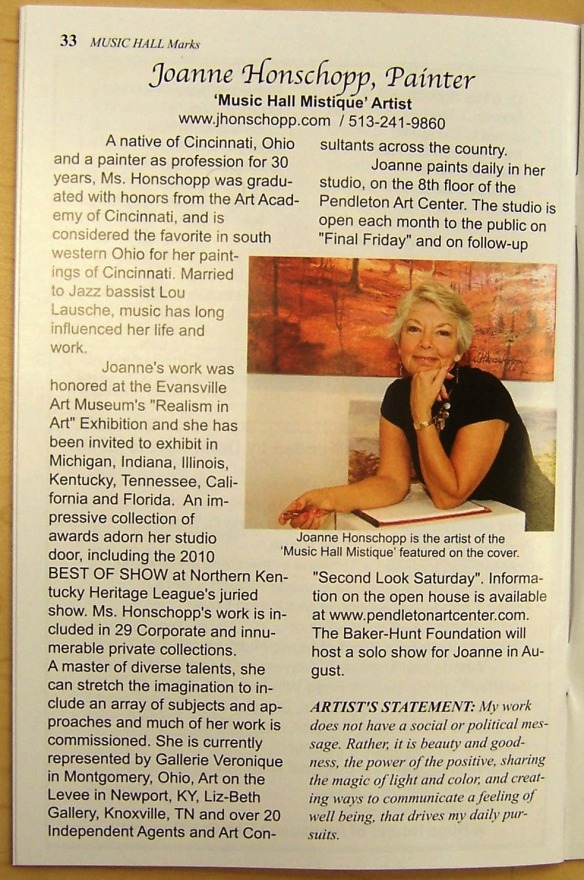 Joanne Honschopp article in Music Hall Marks magazine