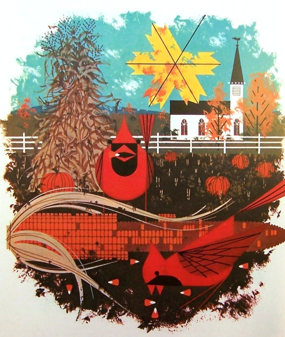 Cardinal Cornucopia by Charley Harper
