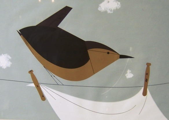 House Wren with Clothes Line by Charley Harper