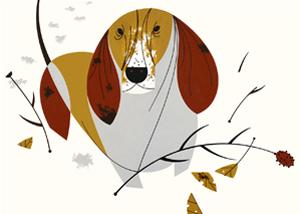 Basset Hound by Charley Harper