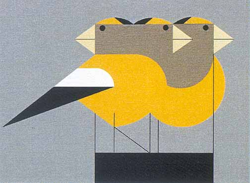 Gregarious Grosbeaks by Charley Harper