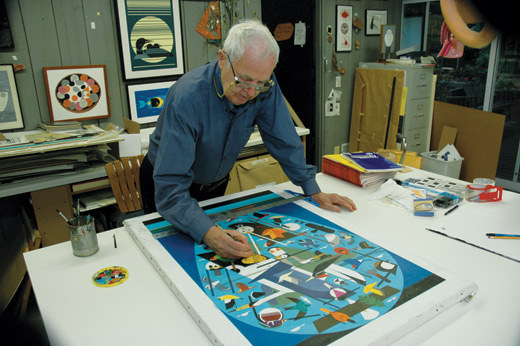 Charley Harper painting We Think the World of Birds