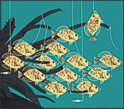 Communal Crappies by Charley Harper