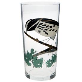 Charley Harper B & W Warbler Glass