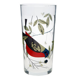 Charley Harper Painted Bunting Glass
