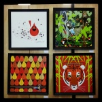 Four framed Charley Harper canvas giclees